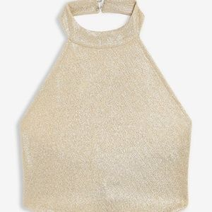 TOPSHOP Gold Metallic Crop Halter Top sz 12